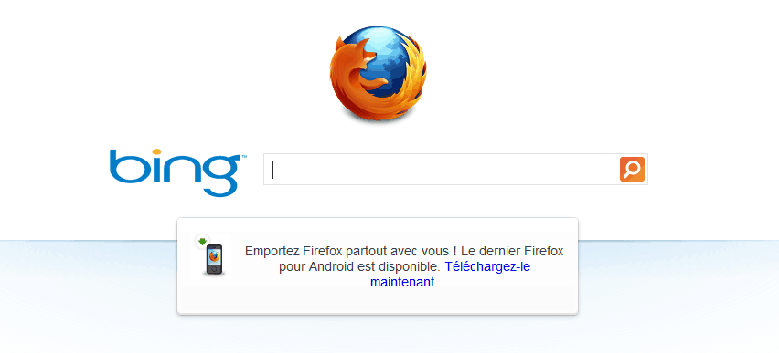Firefox powered by Bing